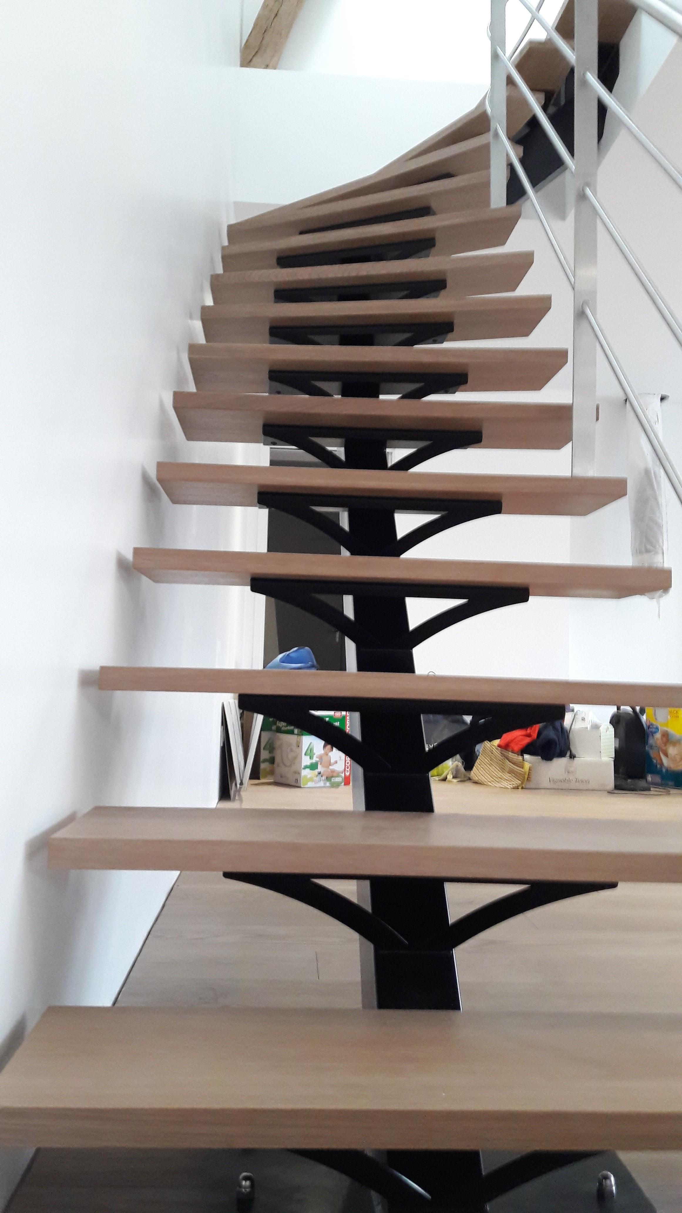 escalier limon central acier cs3i m tallerie. Black Bedroom Furniture Sets. Home Design Ideas